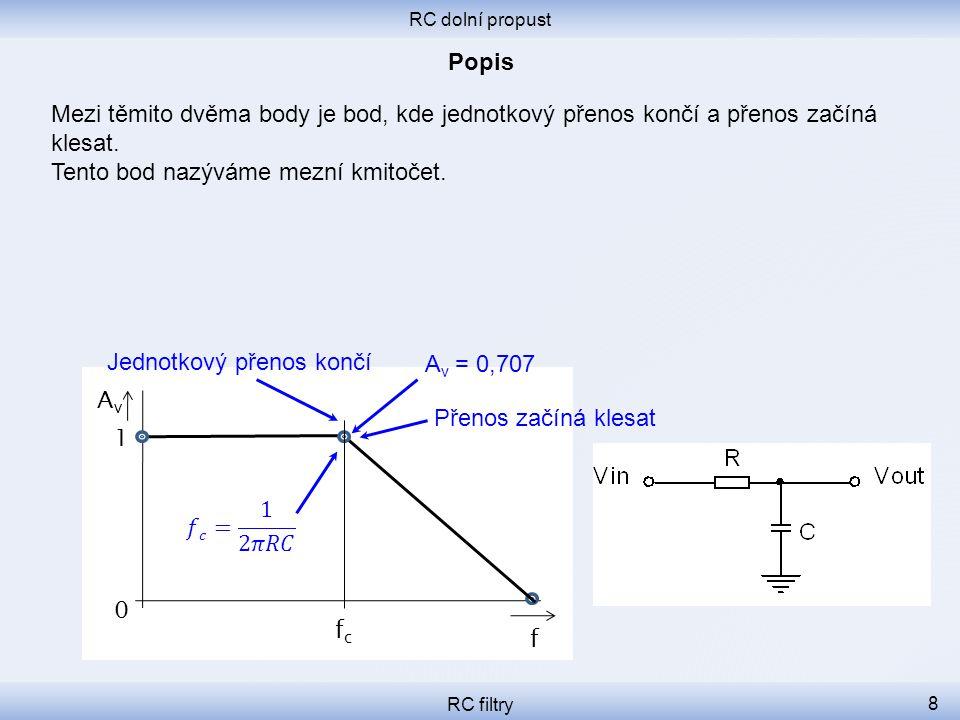 RC dolní propust RC filtry 8 Mezi těmito dvěma body je bod, kde jednotkový přenos končí a přenos začíná klesat. Tento bod nazýváme mezní kmitočet. f 0
