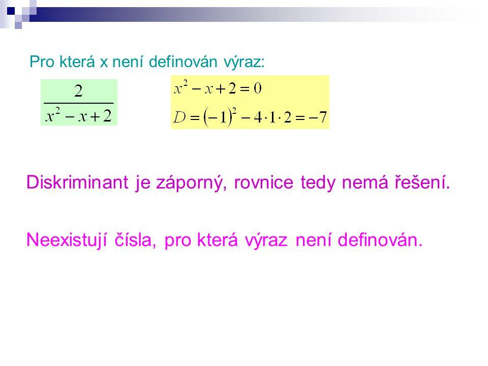 Pro která x není definován výraz: Diskriminant je záporný, rovnice tedy nemá řešení.