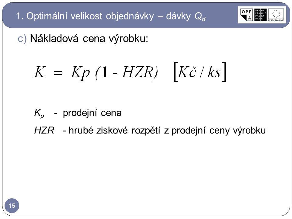 15 c)Nákladová cena výrobku: K p - prodejní cena HZR- hrubé ziskové rozpětí z prodejní ceny výrobku 1. Optimální velikost objednávky – dávky Q d