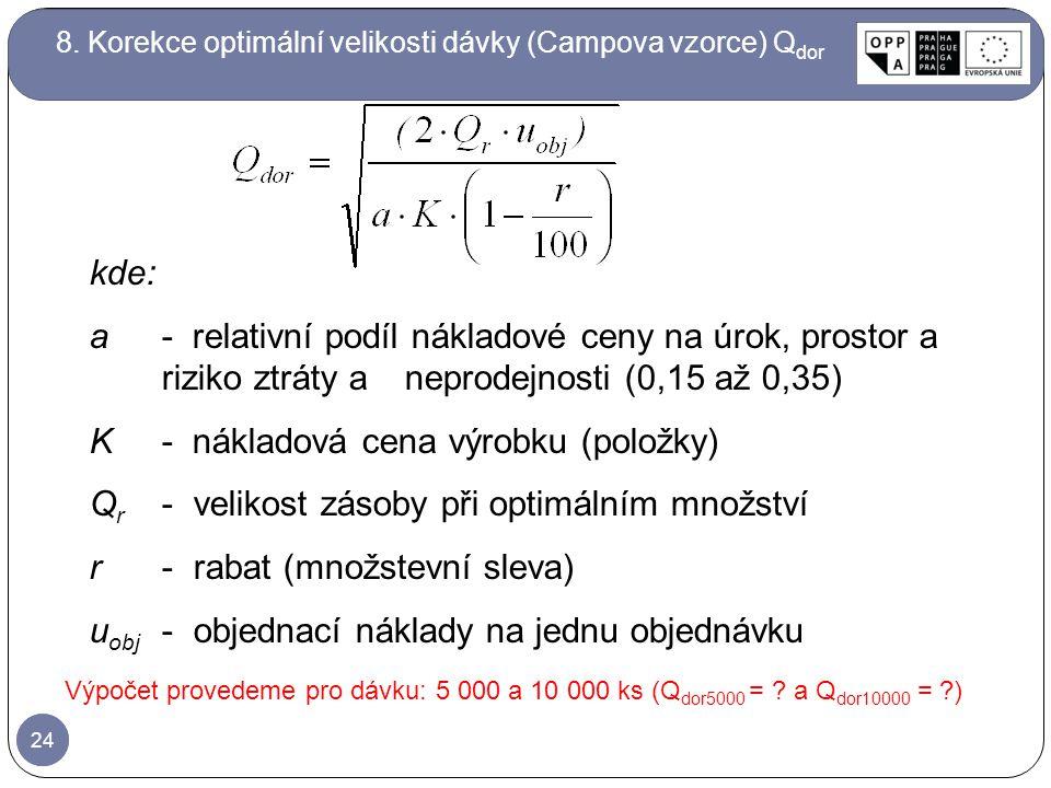 24 8. Korekce optimální velikosti dávky (Campova vzorce) Q dor Výpočet provedeme pro dávku: 5 000 a 10 000 ks (Q dor5000 = ? a Q dor10000 = ?) kde: a-