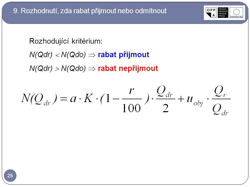 25 Rozhodující kritérium: N(Qdr)  N(Qdo)  rabat přijmout N(Qdr)  N(Qdo)  rabat nepřijmout 9. Rozhodnutí, zda rabat přijmout nebo odmítnout