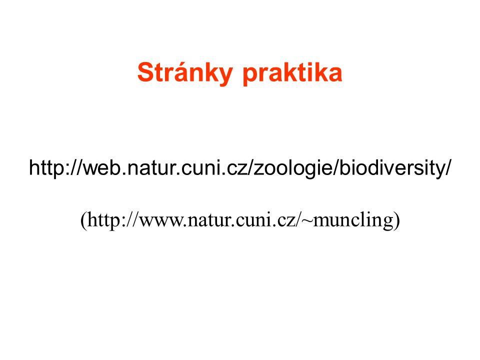 Stránky praktika http://web.natur.cuni.cz/zoologie/biodiversity/ (http://www.natur.cuni.cz/~muncling)