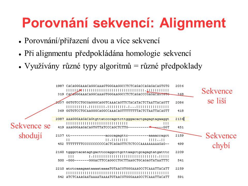Porovnání sekvencí: Alignment Porovnání/přiřazení dvou a více sekvencí Při alignmentu předpokládána homologie sekvencí Využívány různé typy algoritmů = různé předpoklady Sekvence se shodují Sekvence se liší Sekvence chybí