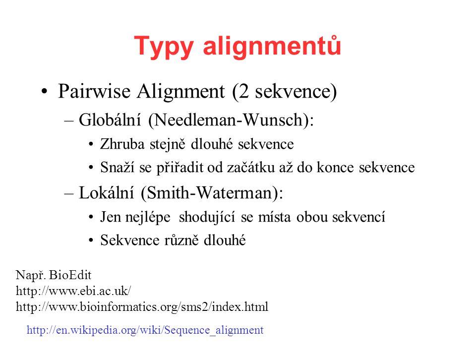 Pairwise Alignment (2 sekvence) –Globální (Needleman-Wunsch): Zhruba stejně dlouhé sekvence Snaží se přiřadit od začátku až do konce sekvence –Lokální (Smith-Waterman): Jen nejlépe shodující se místa obou sekvencí Sekvence různě dlouhé Např.