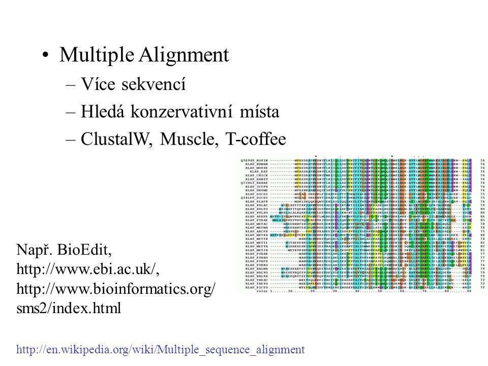 Multiple Alignment –Více sekvencí –Hledá konzervativní místa –ClustalW, Muscle, T-coffee Např.