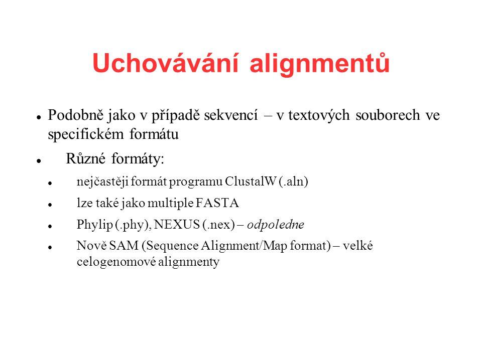 Uchovávání alignmentů Podobně jako v případě sekvencí – v textových souborech ve specifickém formátu Různé formáty: nejčastěji formát programu Clustal