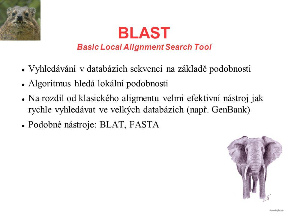BLAST Basic Local Alignment Search Tool Vyhledávání v databázích sekvencí na základě podobnosti Algoritmus hledá lokální podobnosti Na rozdíl od klasi