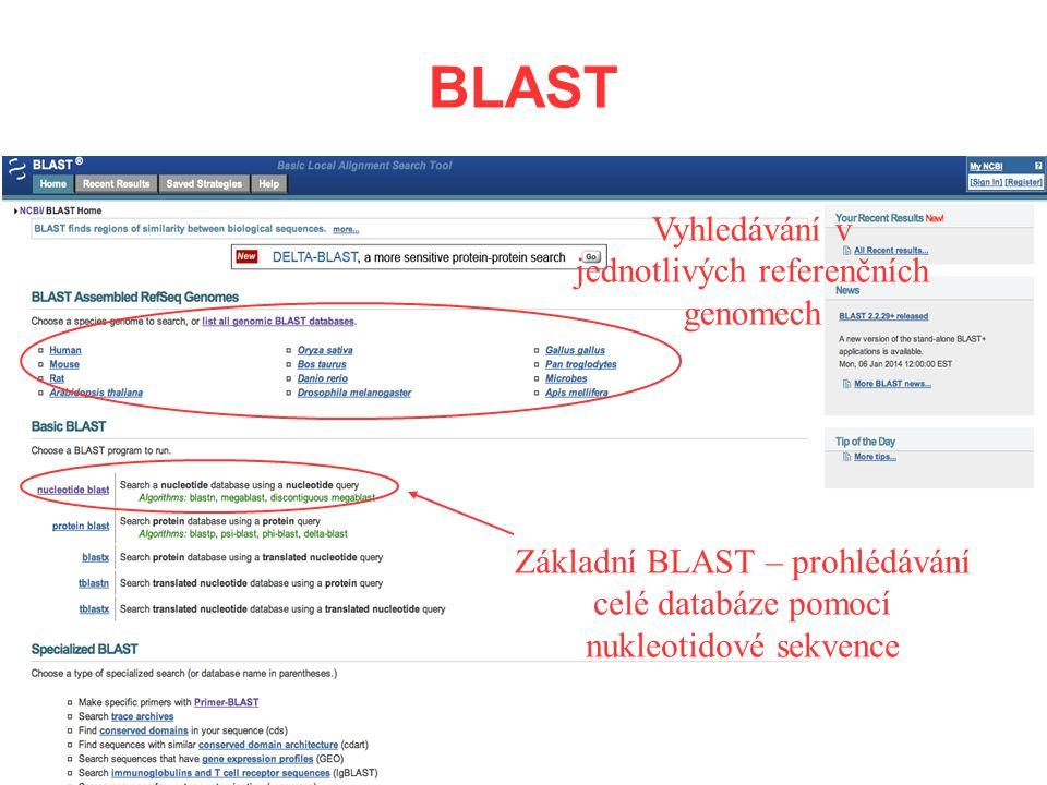 BLAST Základní BLAST – prohlédávání celé databáze pomocí nukleotidové sekvence Vyhledávání v jednotlivých referenčních genomech