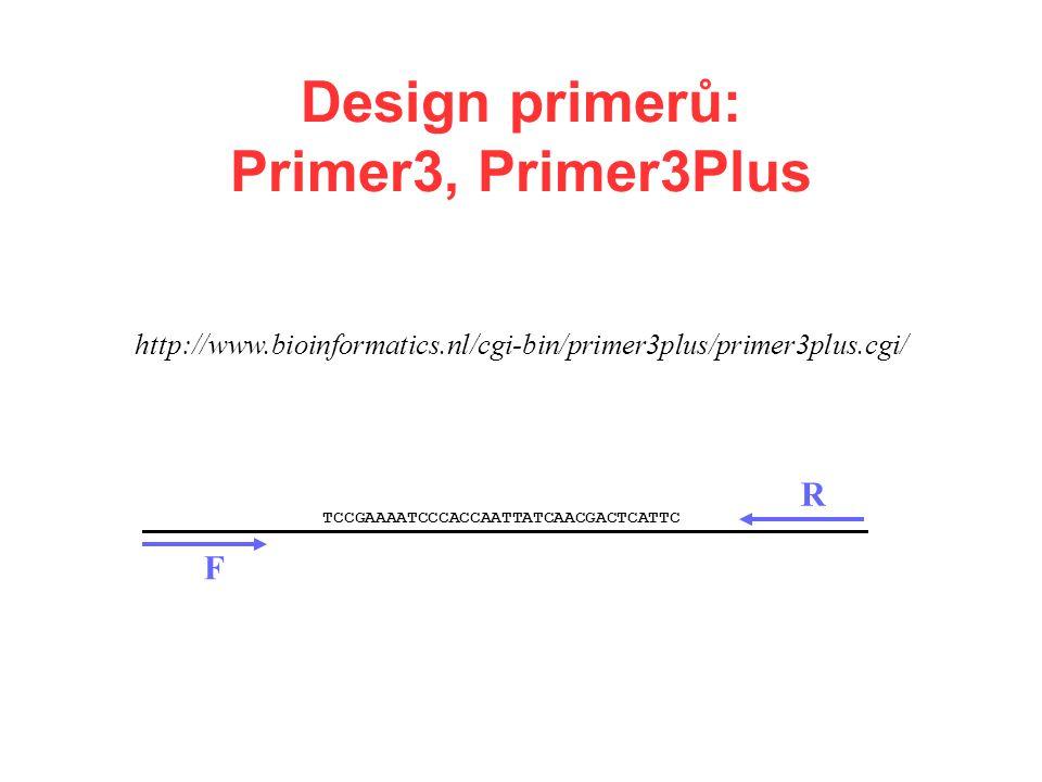 Design primerů: Primer3, Primer3Plus http://www.bioinformatics.nl/cgi-bin/primer3plus/primer3plus.cgi/ TCCGAAAATCCCACCAATTATCAACGACTCATTC F R
