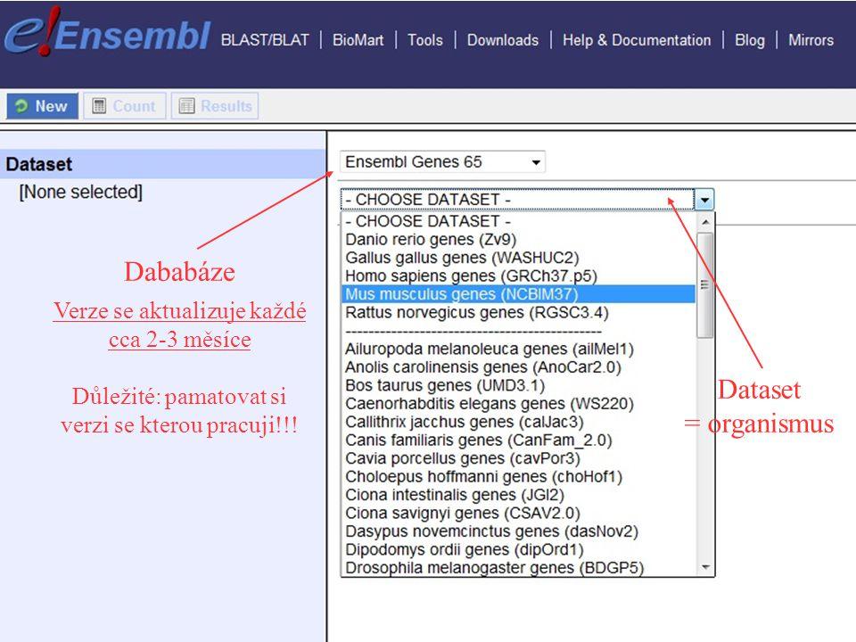 Dababáze Dataset = organismus Verze se aktualizuje každé cca 2-3 měsíce Důležité: pamatovat si verzi se kterou pracuji!!!