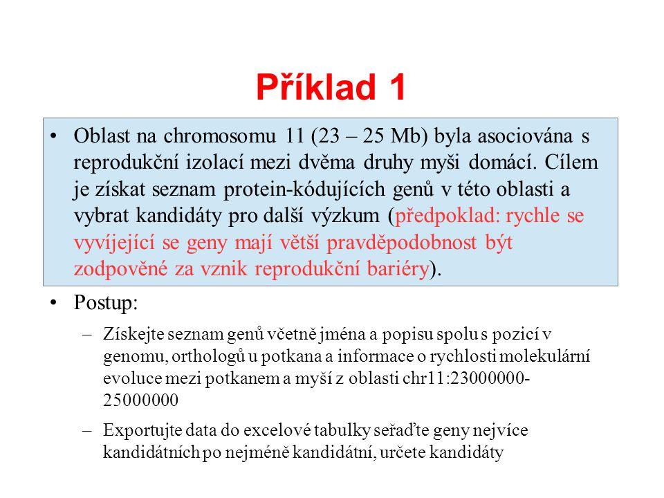 Příklad 1 Oblast na chromosomu 11 (23 – 25 Mb) byla asociována s reprodukční izolací mezi dvěma druhy myši domácí. Cílem je získat seznam protein-kódu