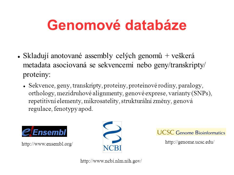 Genomové databáze Skladují anotované assembly celých genomů + veškerá metadata asociovaná se sekvencemi nebo geny/transkripty/ proteiny: Sekvence, geny, transkripty, proteiny, proteinové rodiny, paralogy, orthology, mezidruhové alignmenty, genové exprese, varianty (SNPs), repetitivní elementy, mikrosatelity, strukturální změny, genová regulace, fenotypy apod.