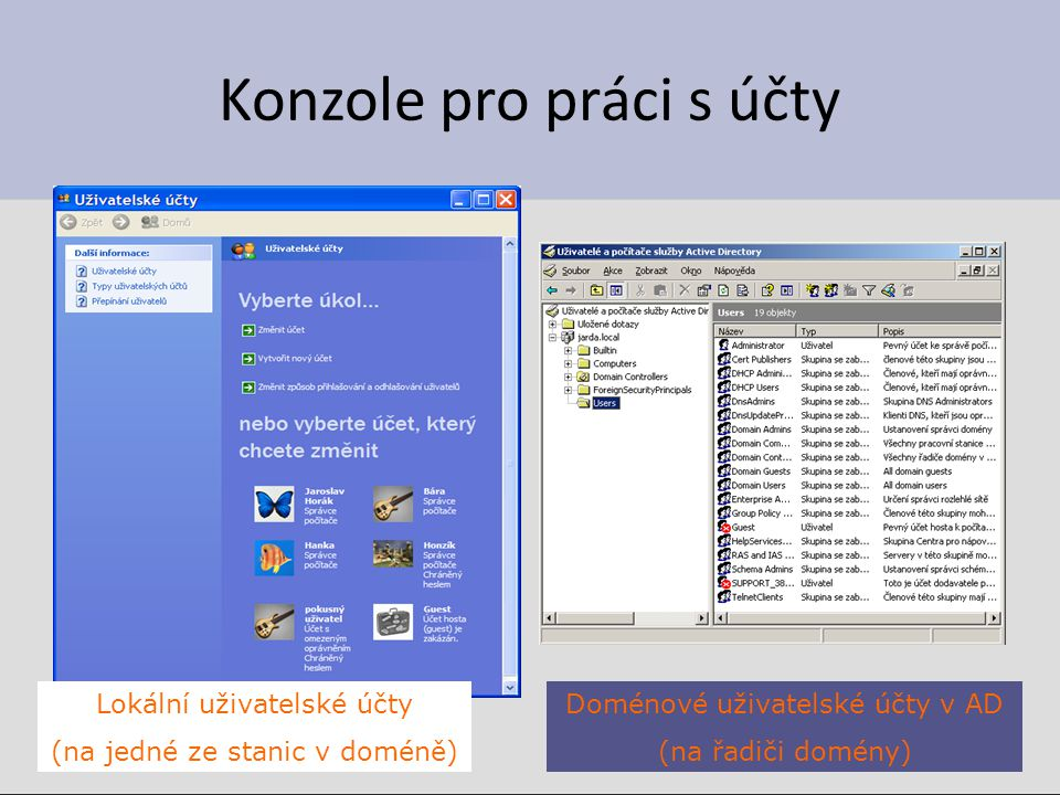 Konzole pro práci s účty Lokální uživatelské účty (na jedné ze stanic v doméně) Doménové uživatelské účty v AD (na řadiči domény)