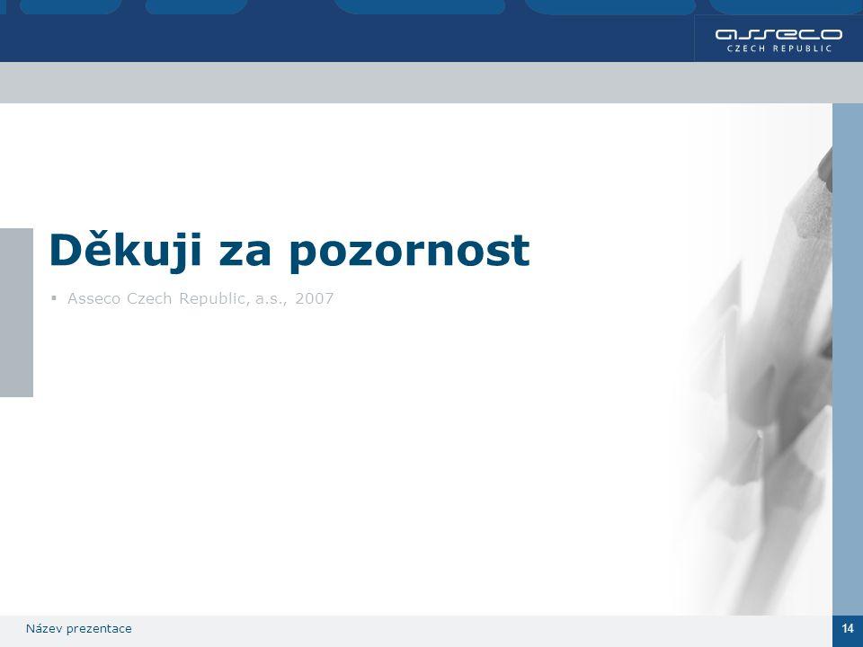 Název prezentace 14 Děkuji za pozornost  Asseco Czech Republic, a.s., 2007