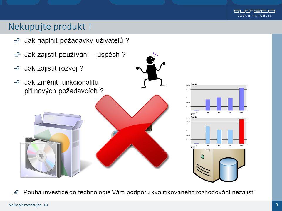 Neimplementujte BI 3 Nekupujte produkt . Jak naplnit požadavky uživatelů .