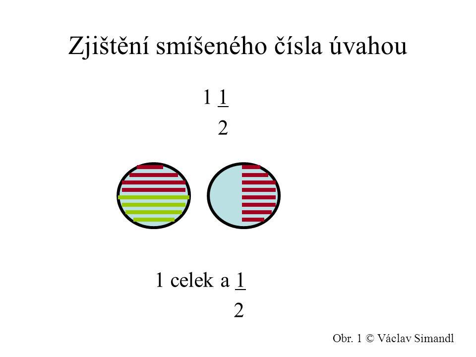 Zjištění smíšeného čísla úvahou 1 1 2 1 celek a 1 2 Obr. 1 © Václav Simandl