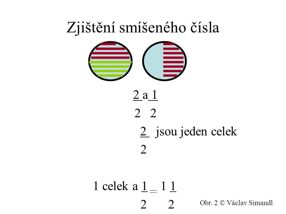 Zjištění smíšeného čísla 2 a 1 2 2 jsou jeden celek 2 1 celek a 1 1 1 2 2 Obr. 2 © Václav Simandl