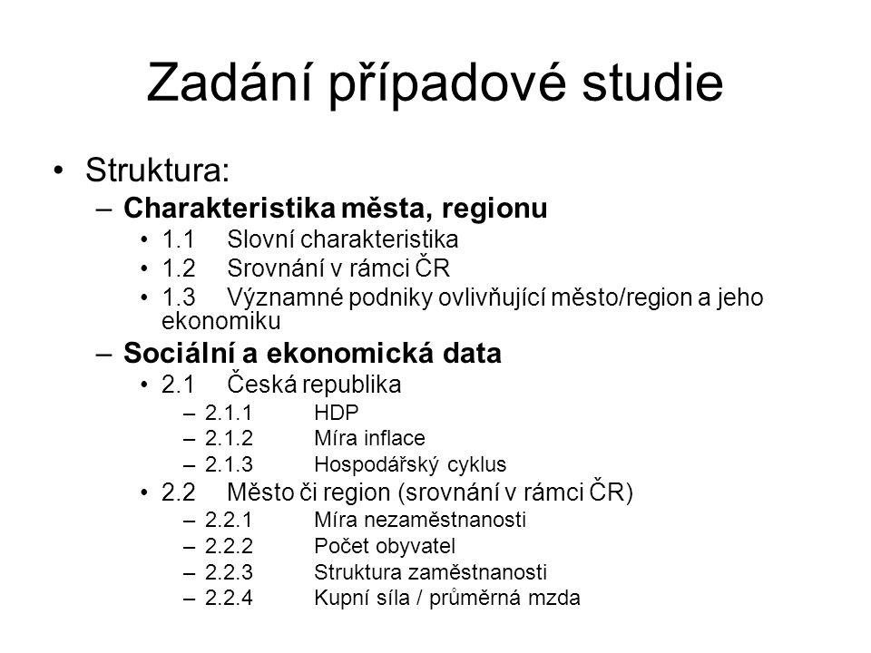 Zadání případové studie Struktura: –Charakteristika města, regionu 1.1Slovní charakteristika 1.2Srovnání v rámci ČR 1.3Významné podniky ovlivňující město/region a jeho ekonomiku –Sociální a ekonomická data 2.1Česká republika –2.1.1HDP –2.1.2Míra inflace –2.1.3Hospodářský cyklus 2.2Město či region (srovnání v rámci ČR) –2.2.1Míra nezaměstnanosti –2.2.2Počet obyvatel –2.2.3Struktura zaměstnanosti –2.2.4Kupní síla / průměrná mzda