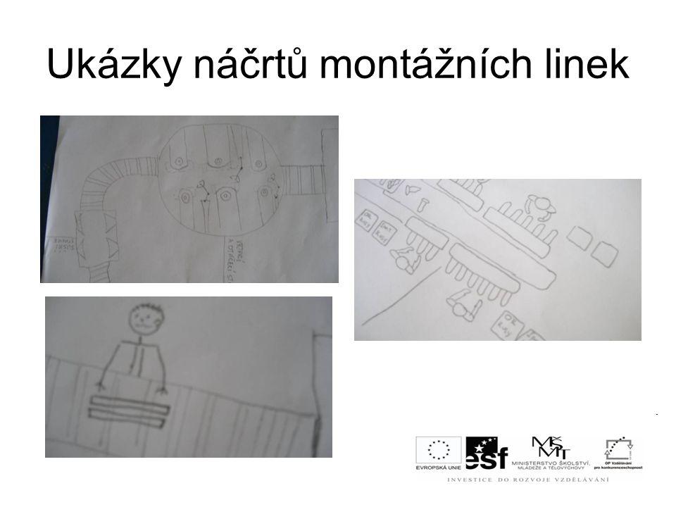 Ukázky náčrtů montážních linek
