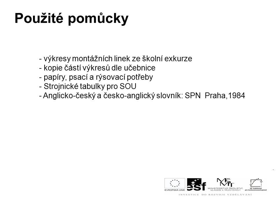 Použité pomůcky - výkresy montážních linek ze školní exkurze - kopie částí výkresů dle učebnice - papíry, psací a rýsovací potřeby - Strojnické tabulky pro SOU - Anglicko-český a česko-anglický slovník: SPN Praha,1984