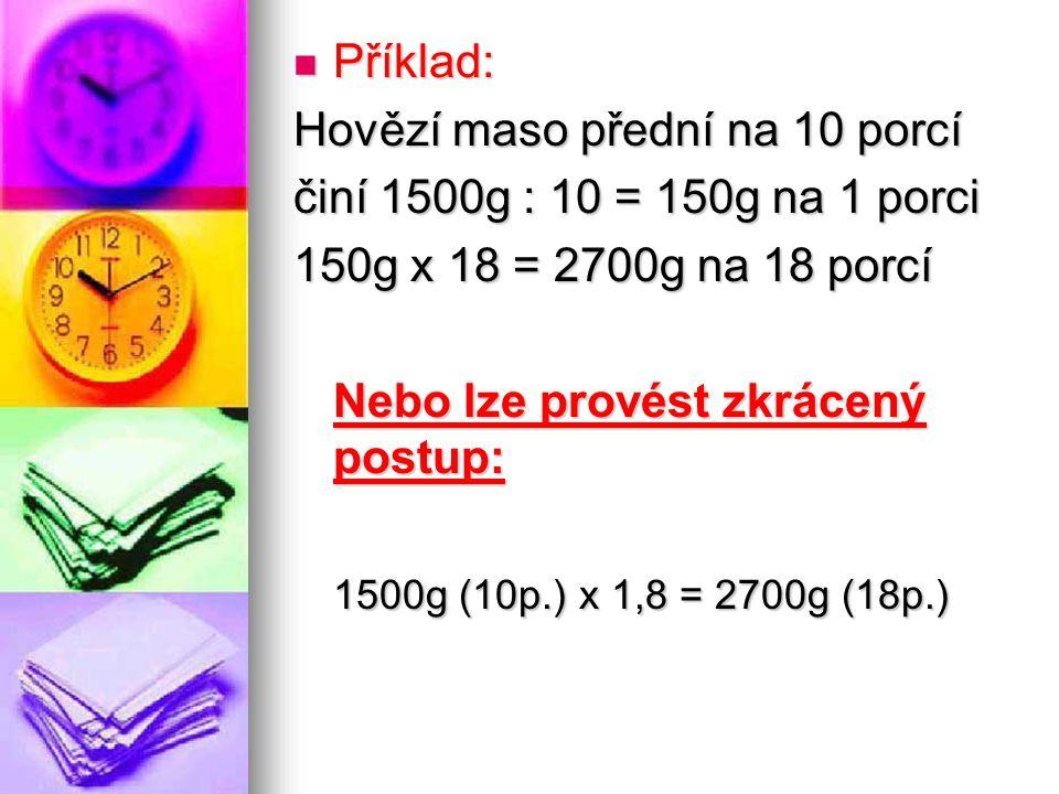 Příklad: Příklad: Hovězí maso přední na 10 porcí činí 1500g : 10 = 150g na 1 porci 150g x 18 = 2700g na 18 porcí Nebo lze provést zkrácený postup: 1500g (10p.) x 1,8 = 2700g (18p.)