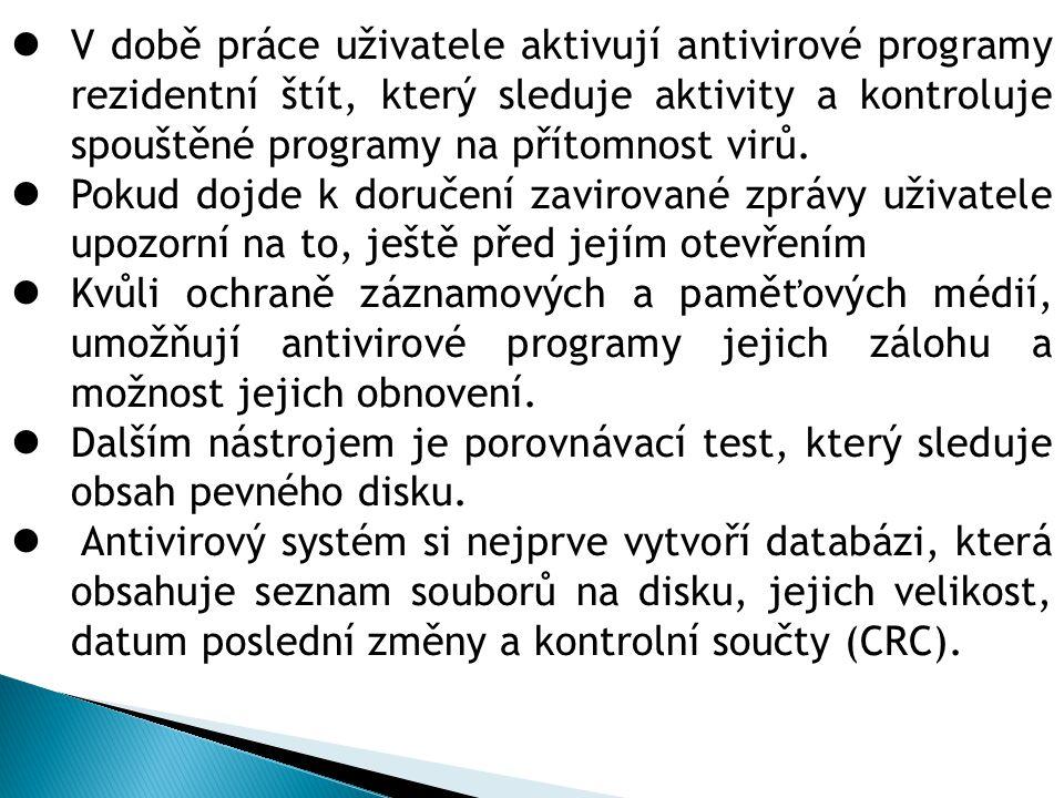 V době práce uživatele aktivují antivirové programy rezidentní štít, který sleduje aktivity a kontroluje spouštěné programy na přítomnost virů. Pokud