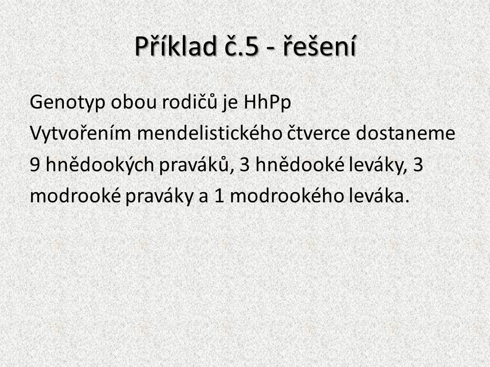 Příklad č.5 - řešení Genotyp obou rodičů je HhPp Vytvořením mendelistického čtverce dostaneme 9 hnědookých praváků, 3 hnědooké leváky, 3 modrooké prav