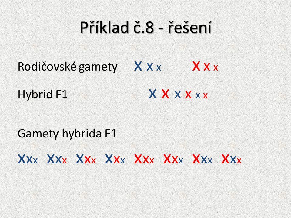 Příklad č.8 - řešení Rodičovské gamety x x x x x x Hybrid F1 x x x x x x Gamety hybrida F1 x x x x x x x x x x x x