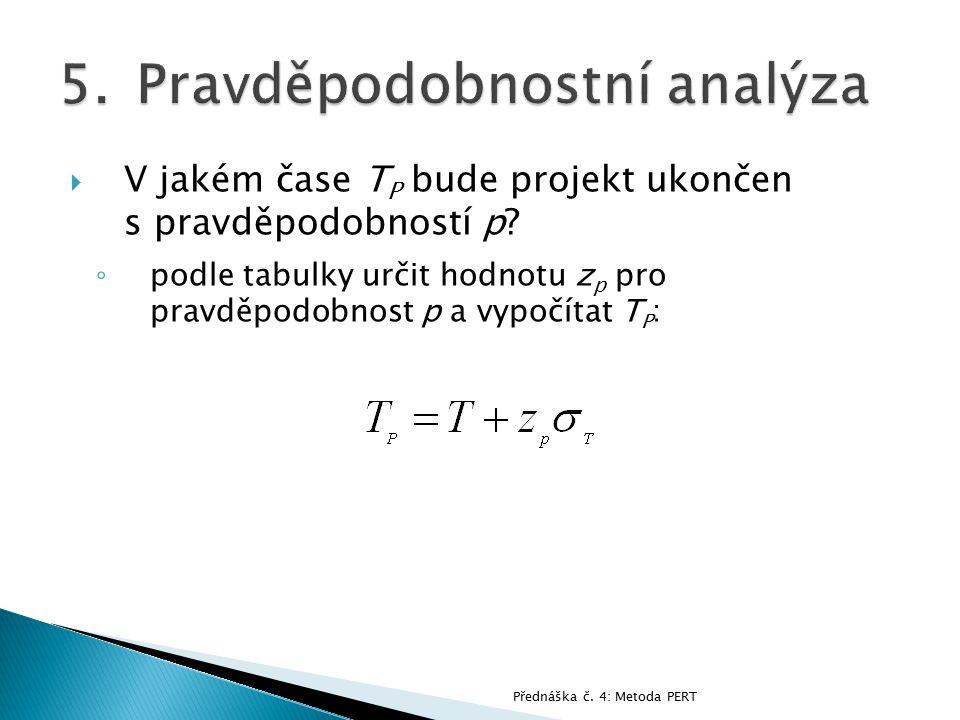  V jakém čase T P bude projekt ukončen s pravděpodobností p? ◦ podle tabulky určit hodnotu z p pro pravděpodobnost p a vypočítat T P : Přednáška č. 4