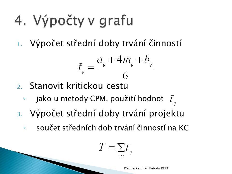 1. Výpočet střední doby trvání činností 2. Stanovit kritickou cestu ◦ jako u metody CPM, použití hodnot 3. Výpočet střední doby trvání projektu ◦ souč