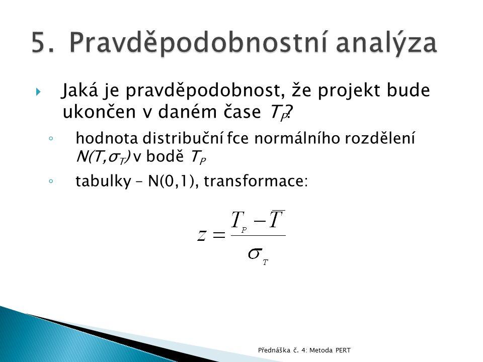  Jaká je pravděpodobnost, že projekt bude ukončen v daném čase T P ? ◦ hodnota distribuční fce normálního rozdělení N(T,σ T ) v bodě T P ◦ tabulky –
