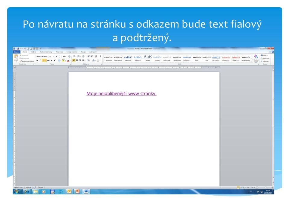Po návratu na stránku s odkazem bude text fialový a podtržený.