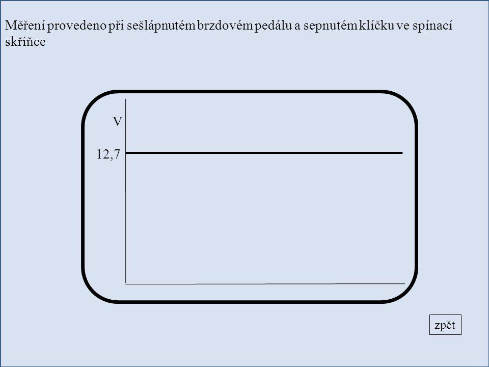 Měření provedeno při sešlápnutém brzdovém pedálu a sepnutém klíčku ve spínací skříňce zpět V 12,7