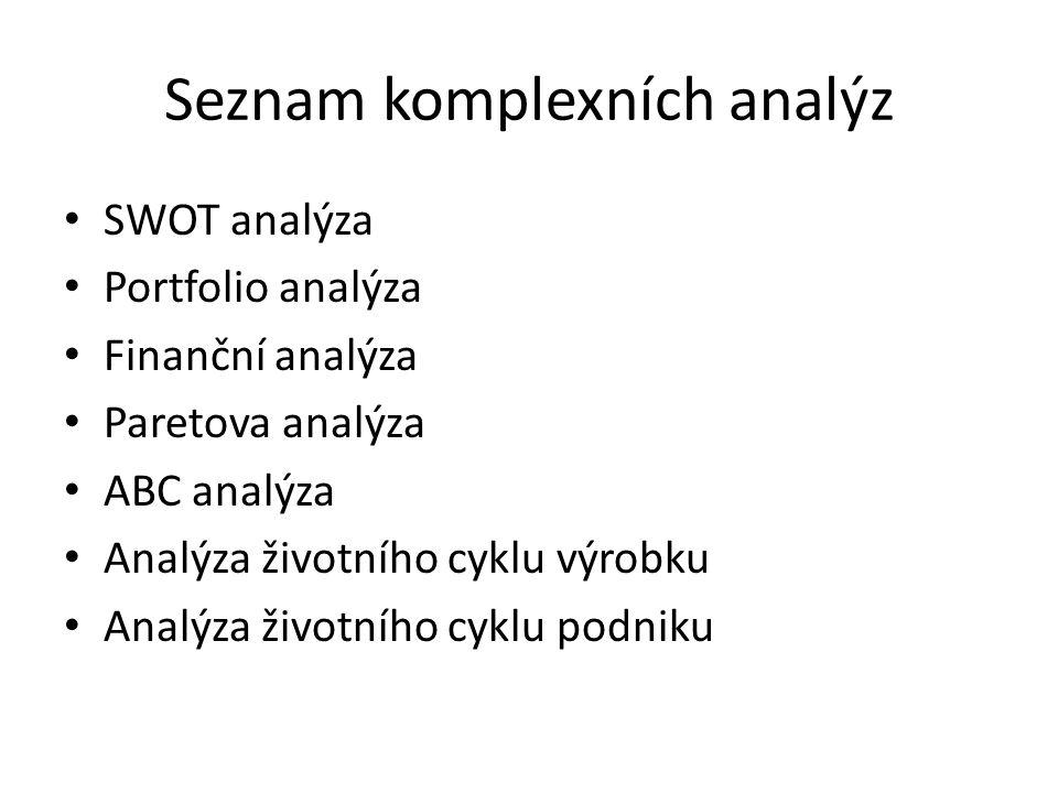 Seznam komplexních analýz SWOT analýza Portfolio analýza Finanční analýza Paretova analýza ABC analýza Analýza životního cyklu výrobku Analýza životní