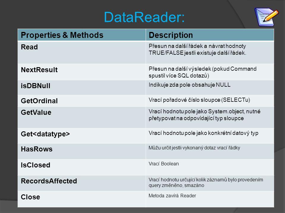 DataReader: Properties & MethodsDescription Read Přesun na další řádek a návrat hodnoty TRUE/FALSE jestli existuje další řádek.