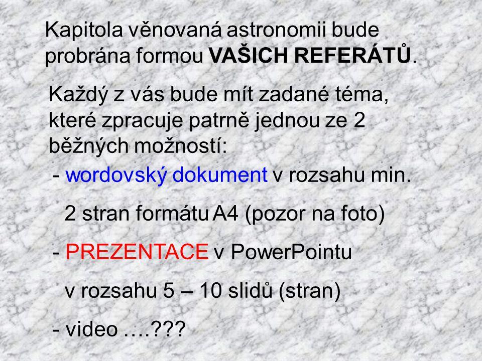 Nezávisle na formě referátu budete téma prezentovat před třídou (nečteme, víme o čem je řeč atd.) ve stanoveném pořadí.