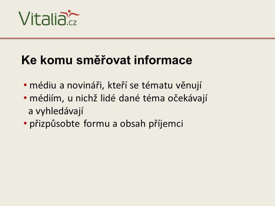 Veškeré informace najdete na serveru Uvítáme vaše podněty Kontakt: redakce@vitalia.cz