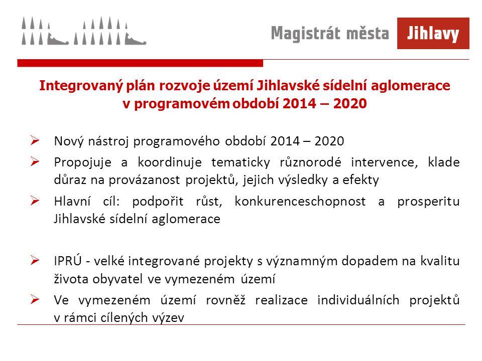 Integrovaný plán rozvoje území Jihlavské sídelní aglomerace v programovém období 2014 – 2020  Nový nástroj programového období 2014 – 2020  Propojuje a koordinuje tematicky různorodé intervence, klade důraz na provázanost projektů, jejich výsledky a efekty  Hlavní cíl: podpořit růst, konkurenceschopnost a prosperitu Jihlavské sídelní aglomerace  IPRÚ - velké integrované projekty s významným dopadem na kvalitu života obyvatel ve vymezeném území  Ve vymezeném území rovněž realizace individuálních projektů v rámci cílených výzev
