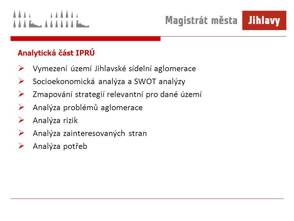 Analytická část IPRÚ  Vymezení území Jihlavské sídelní aglomerace  Socioekonomická analýza a SWOT analýzy  Zmapování strategií relevantní pro dané území  Analýza problémů aglomerace  Analýza rizik  Analýza zainteresovaných stran  Analýza potřeb