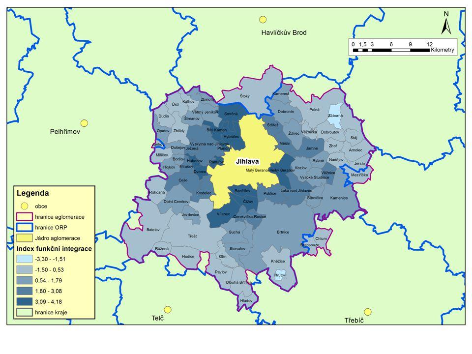 Vymezení území Jihlavské sídelní aglomerace