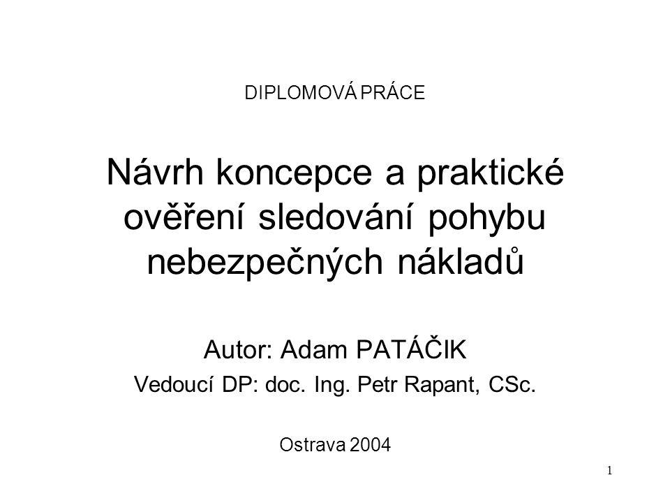 1 DIPLOMOVÁ PRÁCE Návrh koncepce a praktické ověření sledování pohybu nebezpečných nákladů Autor: Adam PATÁČIK Vedoucí DP: doc.