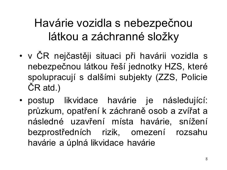 8 Havárie vozidla s nebezpečnou látkou a záchranné složky v ČR nejčastěji situaci při havárii vozidla s nebezpečnou látkou řeší jednotky HZS, které spolupracují s dalšími subjekty (ZZS, Policie ČR atd.) postup likvidace havárie je následující: průzkum, opatření k záchraně osob a zvířat a následné uzavření místa havárie, snížení bezprostředních rizik, omezení rozsahu havárie a úplná likvidace havárie