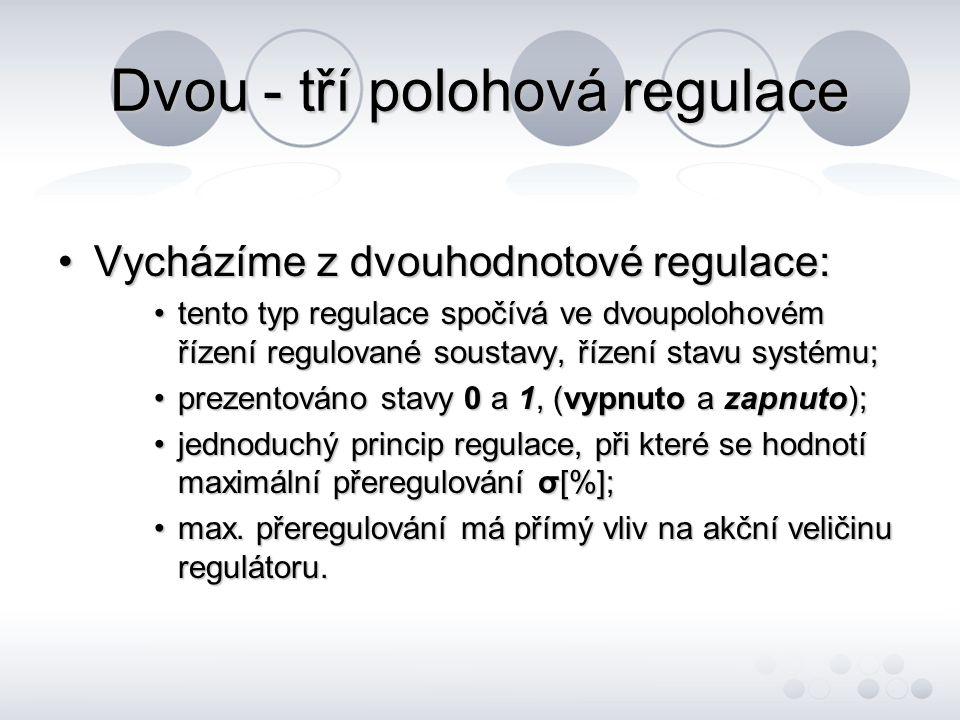 Dvou - tří polohová regulace Vycházíme z dvouhodnotové regulace:Vycházíme z dvouhodnotové regulace: tento typ regulace spočívá ve dvoupolohovém řízení