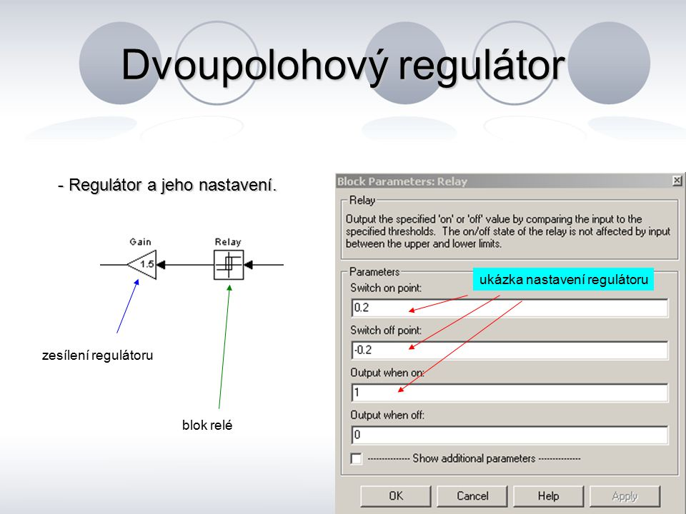 Dvoupolohový regulátor - Regulátor a jeho nastavení. zesílení regulátoru blok relé ukázka nastavení regulátoru
