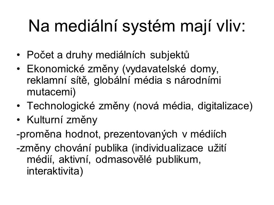 Na mediální systém mají vliv: Počet a druhy mediálních subjektů Ekonomické změny (vydavatelské domy, reklamní sítě, globální média s národními mutacemi) Technologické změny (nová média, digitalizace) Kulturní změny -proměna hodnot, prezentovaných v médiích -změny chování publika (individualizace užití médií, aktivní, odmasovělé publikum, interaktivita)