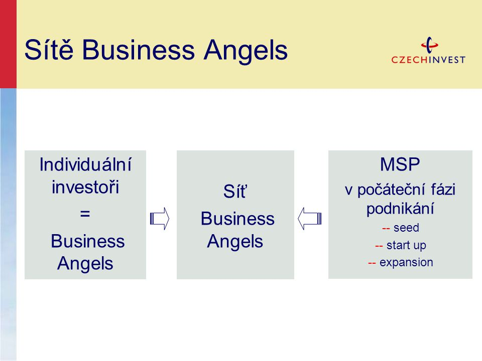 Sítě Business Angels Síť Business Angels Individuální investoři = Business Angels MSP v počáteční fázi podnikání -- seed -- start up -- expansion