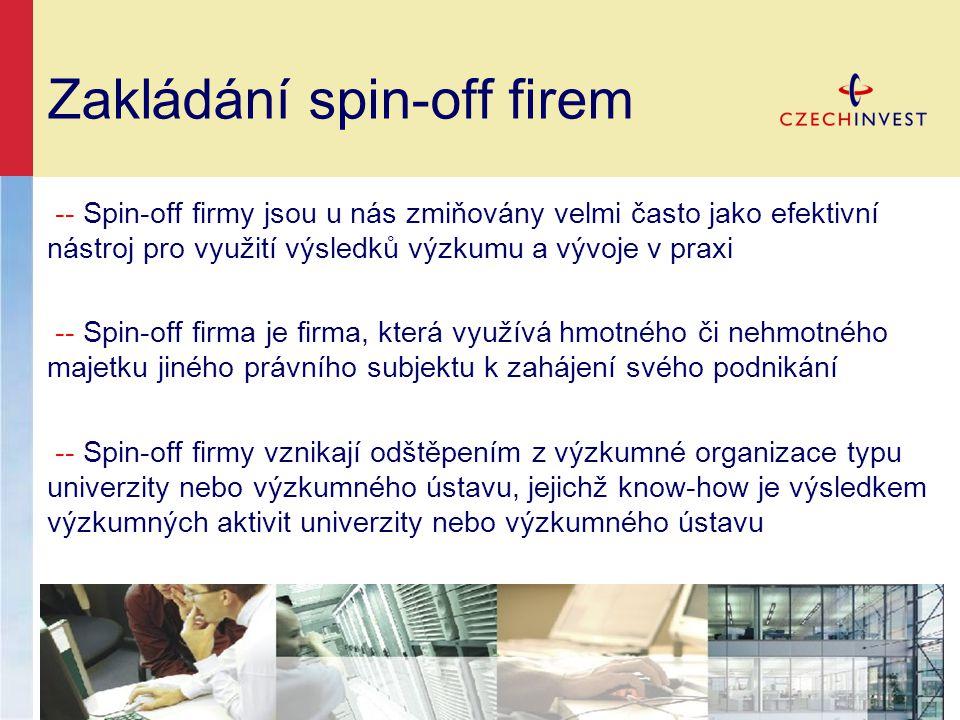 Zakládání spin-off firem -- Spin-off firmy jsou u nás zmiňovány velmi často jako efektivní nástroj pro využití výsledků výzkumu a vývoje v praxi -- Spin-off firma je firma, která využívá hmotného či nehmotného majetku jiného právního subjektu k zahájení svého podnikání -- Spin-off firmy vznikají odštěpením z výzkumné organizace typu univerzity nebo výzkumného ústavu, jejichž know-how je výsledkem výzkumných aktivit univerzity nebo výzkumného ústavu