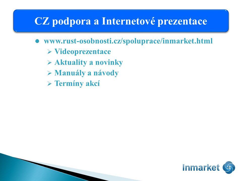 www.rust-osobnosti.cz/spoluprace/inmarket.html  Videoprezentace  Aktuality a novinky  Manuály a návody  Termíny akcí CZ podpora a Internetové prezentace