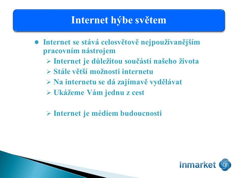 Internet se stává celosvětově nejpoužívanějším pracovním nástrojem  Internet je důležitou součástí našeho života  Stále větší možnosti internetu  Na internetu se dá zajímavě vydělávat  Ukážeme Vám jednu z cest  Internet je médiem budoucnosti Internet hýbe světem