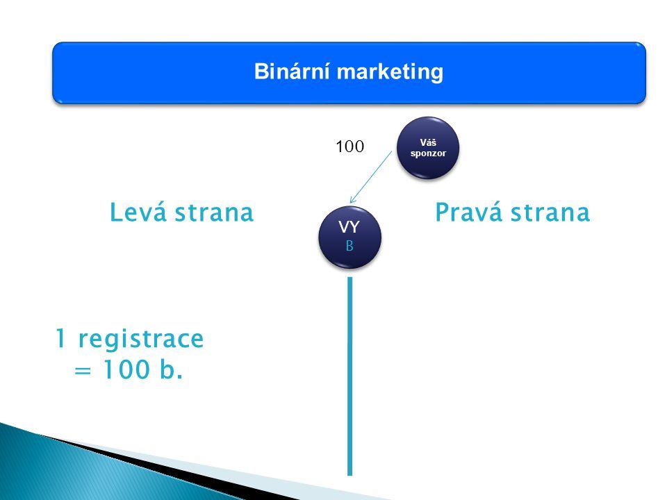 Binární marketing VY B Váš sponzor Levá stranaPravá strana 1 registrace = 100 b. 1 00